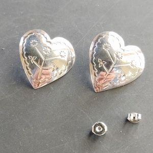 Sterling Silver heart concho earrings